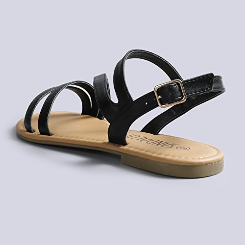 Open Buckle Flat Band Black Adjustable SANDALUP Double Women's Sandals Slingback Toe 7qp0gwEgx