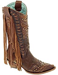 Corral Womens 14-inch Brown/Tan Woven Details & Fringed Sides Snip Toe Cowboy Boots - Sizes 5-12 B