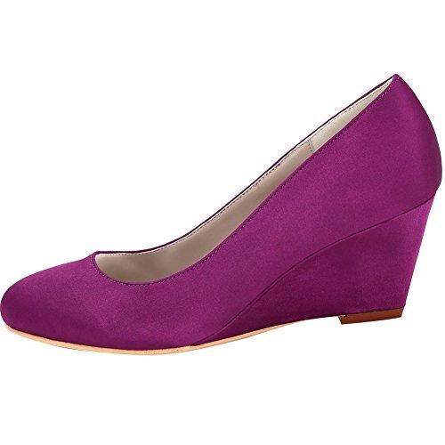 Loslandifen Mujeres Cuñas Bombas De Punta Cerrada Zapatillas De Novia De Satén Púrpura
