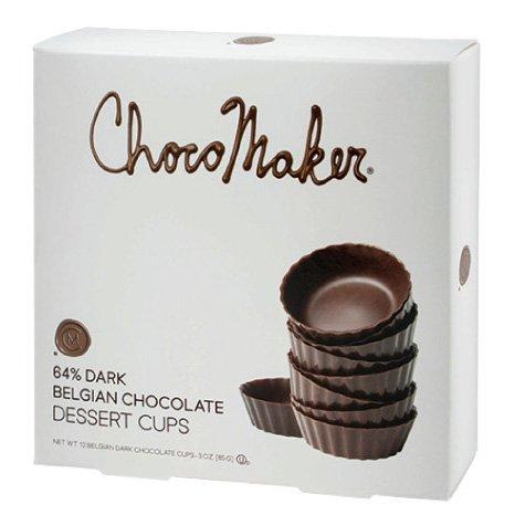 Package Dessert - ChocoMaker 64% Dark Belgian Chocolate Dessert Cups, 12 Cups in Package
