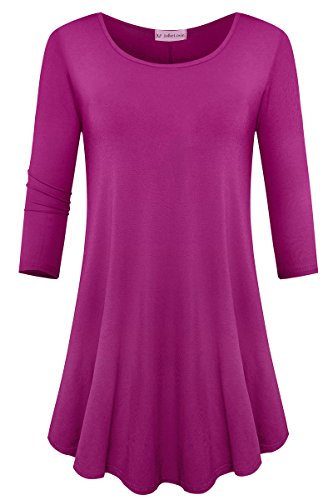 JollieLovin Womens 3/4 Sleeve Loose Fit Swing Tunic Tops Basic T Shirt (Fushia, -