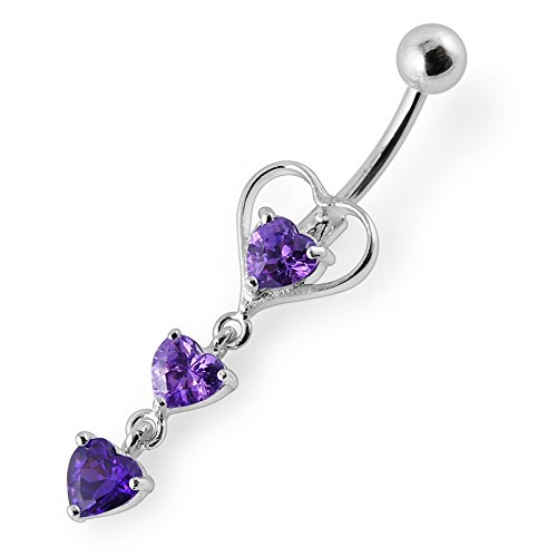 Heart Sterling Silver Belly Button Ring (Purple Crystal Stone Fancy Triple Heart Dangling 925 Sterling Silver with Stainless Steel Belly Button Rings)