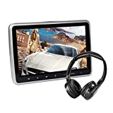CarThree Car DVD Player 10.1 inch 1024600 Headrest DVD Player with Wireless Headphone Car DVD Players Headrest USB/SD/HDMI/IR/FM TFT LCD Touch Button Games DVD Player for Car