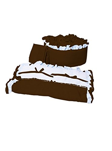 - Babyoll Bedding Regal Neutral Mini Crib/Portable/Port-a-Crib Bedding Set for boy and Girly, Chocolate Brown/White