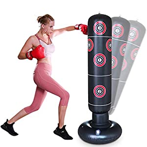 Well-Being-Matters 41ShsK7vfnL._SS300_ AK KYC 63inch Inflatable Punching Bag for Kids + Air Pump Set,Free Standing Boxing Bag Adults Vertical Boxing Column…