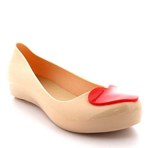 Womens Flat Slip On Jelly Love Heart Work Ballerina Ballet Summer Shoes Nude/Red K7wAxDv