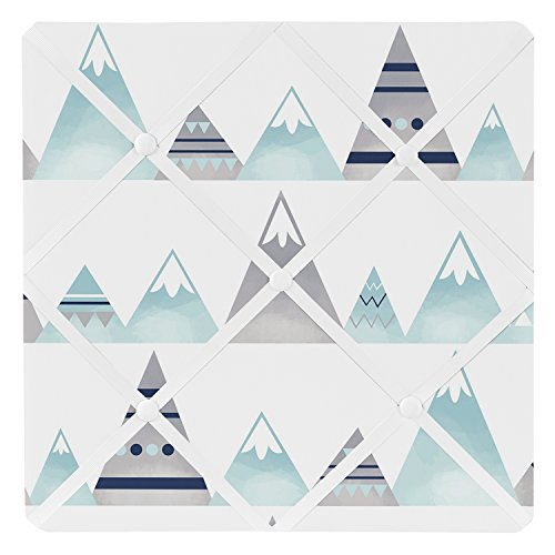 Sweet Jojo Designs Navy Blue, Aqua and Grey Aztec Fabric Memory Memo Photo Bulletin Board for Mountains Collection by by Sweet Jojo Designs