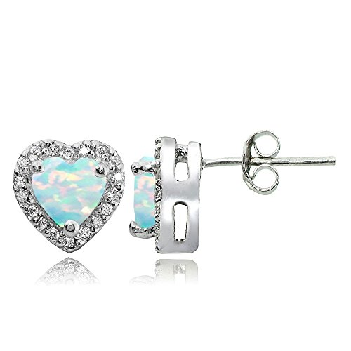 Sterling Silver Created White Opal and White Topaz Heart Halo Stud Earrings - Gold Opal Heart Ring