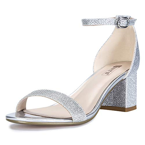 IDIFU Women's IN2 Cookie-LO Low Heel Ankle Strap Dress Pump Sandal (Silver Glitter, 8 B(M) US)