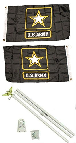 2x3 2'x3' Army Star Double Sided 2ply Flag White Pole Kit by AES