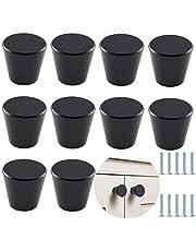 10 stuks meubels handvat zwarte kegel ronde massieve meubels knoppen kast staaf knoppen mode duurzaam, voor garderobe deur, decoratieve kast deuren, slaapkamer, badkamer, keuken, woonkamer - zwart