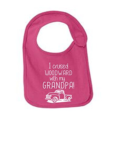 I Cruised Woodward With My Grandpa Funny Infant Jersey Bib Sangria One Size ()