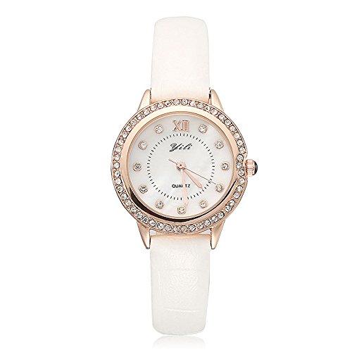 Mode Leisure Weiß Lederband Römische Ziffern Skalen Strass Damen Armband Uhr
