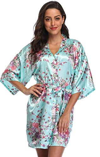 Season Dressing Floral Satin Kimono Robes Short Bridesmaid Robe for Parties Wedding Robes, Light Blue L/XL