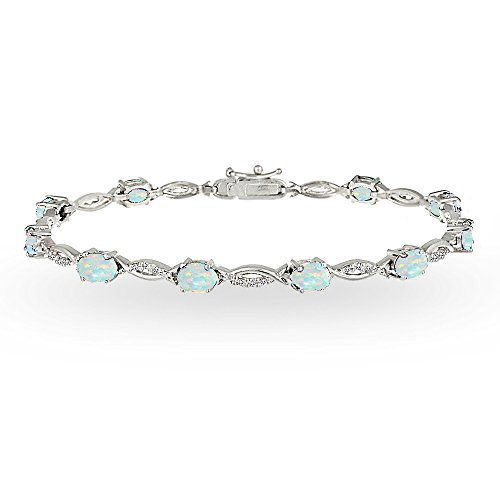 Bracelets Oval Opal (Sterling Silver Simulated White Opal and White Topaz Oval-Cut Swirl Tennis Bracelet)