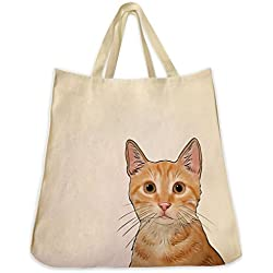 Dog Cat and Pet Tote Bags Extra Large Reusable Canvas Over the Shoulder Handbags (Tabby Cat (Orange))