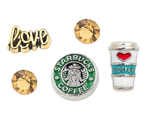 Cherityne Coffee Theme Set of 5 Floating Charms for Locket Pendant (Origami Owl Valentine Charms)
