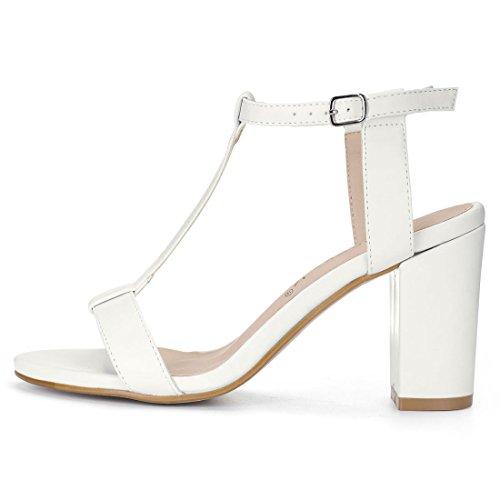 Allegra K Women's T-Strap Dress Sandals White VZFbQrC