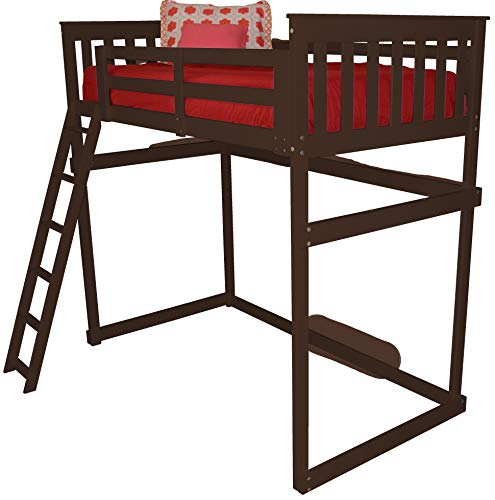 - DutchCrafters Amish Mission Loft Bed with Ladder - Full Size Bed (Unfinished Pine, Ladder Style - Side Ladder)