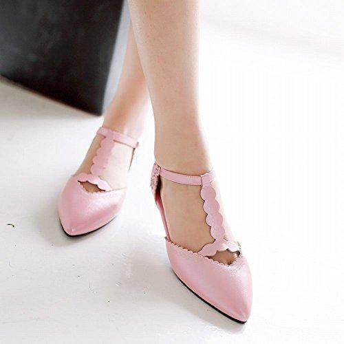 Mostrar Shine Mujeres Fashion T Strap Buckle Zapatos De Punta Estrecha Zapatos Rosa
