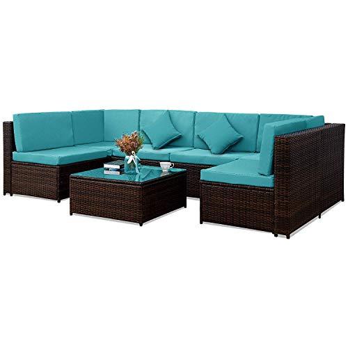 Hooseng 7 PC Outdoor Garden Rattan Patio Furniture Set Cushioned Seat Wicker Sofa, Blue