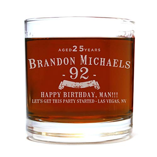 Personalized Etched 11oz Whiskey Rocks Lowball Glass for Birthday Gifts
