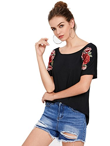 Neck Flower Embroidered Top - 5