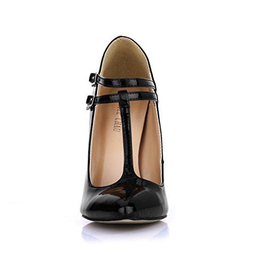 De bout cuir Chau bride Vernis Haut Pointu Chmile stiletto escarpins Fermé Femmes t Synthétique sexy talon Noir aiguille Xx6dwqwYC