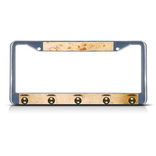 GONG MUSICAL INSTRUMENT STYLE 2 Metal License Plate Frame Tag Border Two Holes PREMIUM Men Women Car garadge decor