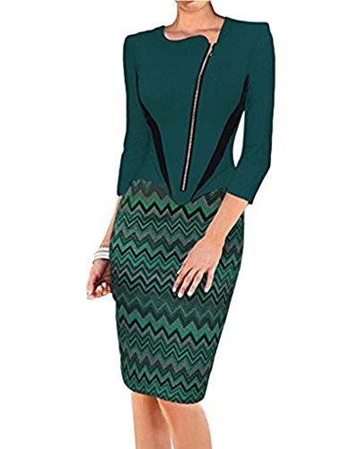 Vestidos Mujer Negocios Bodycon Ropa Verde Minetom Cortos Frontal Business Coctel De Vestidos Cremallera Vintage Fiesta Ropa Casual qqtZPF