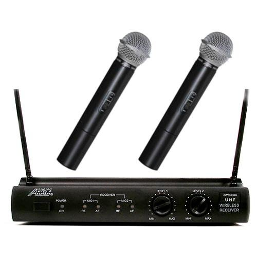 Audio2000s Awm6032u UHF Dual Channel Wireless Microphone System with Two Handheld Mic by Audio 2000S