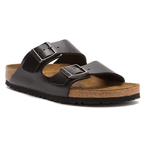 Birkenstock Unisex Arizona Black Amalfi Leather Soft Footbed Sandals - 36 N EU / 5-5.5 2A(N) US (Birkenstock Arizona Black Leather Two Strap Sandals)