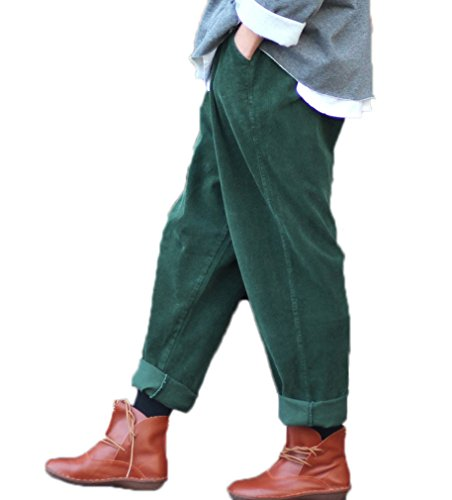 (Soojun Women's Corduroy Retro Loose Fit Wide Leg Rolled Up Pant with Packet, DarkGreen)