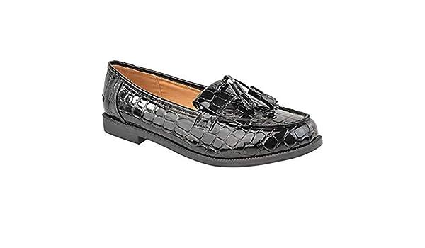 Mujer Mocasines Planos Casual Oficina Escuela con Flecos Zapatillas - Charol Negro/Leopardo Ante Artificial, 36: Amazon.es: Zapatos y complementos