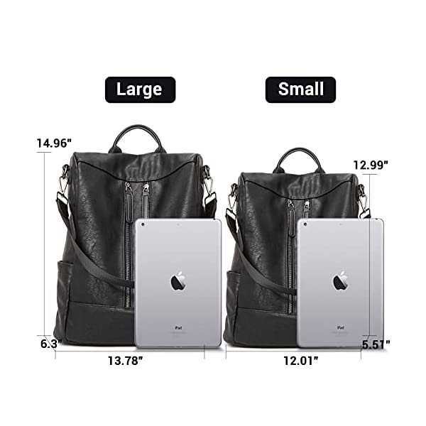 BROMEN Women Backpack Purse Leather Anti-theft Travel Backpack Fashion Shoulder Handbag 4