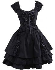 M4U Womens Classic Black Layered Lace-Up Cotton Lolita Dress