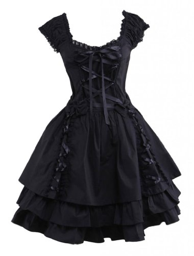 [M4U Womens Classic Black Layered Lace-up Cotton Lolita Dress XXL] (Goth Dress)