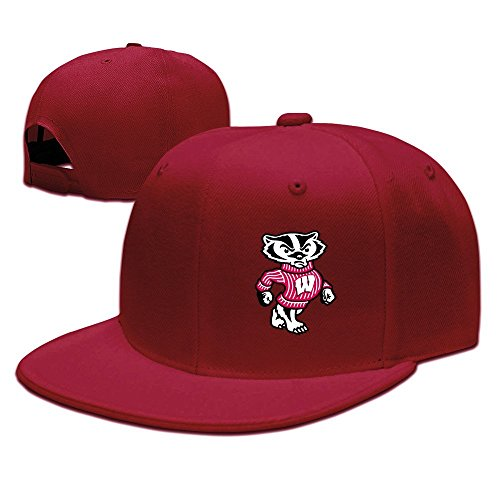 EUNICORN SG University Of Wisconsin Madison Badger LOGO Ajustable Flat Brim Baseball Cap Cotton Red