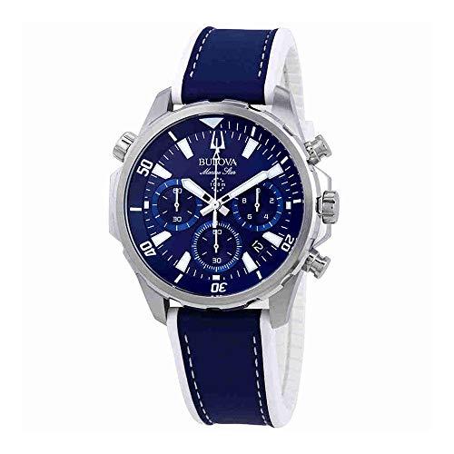 Bulova Men's Marine Star Chronograph Blue Leather & Silicone Band 43mm