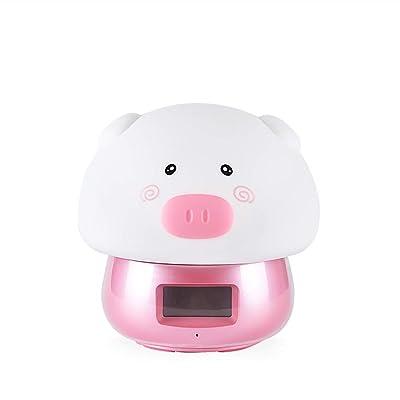 696qingtongxuanyu Reloj electrónico/Despertador Creativo multifunción/Despertador Infantil Pig/Luz de Noche de Silicona Linda/Reloj con repetición electrónica /,Rosado: Hogar