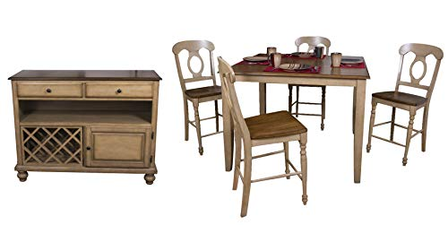 Sunset Trading DLU-BR4848CB-B50-SRPW6PC Brook Dining Set, Medium, One Size, Distressed Sonoma Oak (Sonoma Pub Room Table Dining)