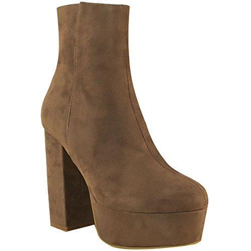 Heel Mocha Platform Womens Ladies Suede Thirsty Boots Shoes Ankle Size High Faux Block Cleated Fashion Chunky Brown wqzfOI