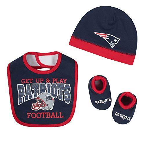 Gerber Childrenswear NFL New England Patriots Boys 2018Cap Bib & Bootie Set, Blue, 0-6 Months by Gerber Childrenswear