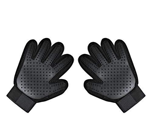 Pet Grooming Glove - Gentle Shedding Brush Glove - Efficient Pet Hair Remover - Enhanced Five Finger Design -1 Right 1 Left = Set or Pair (Black)