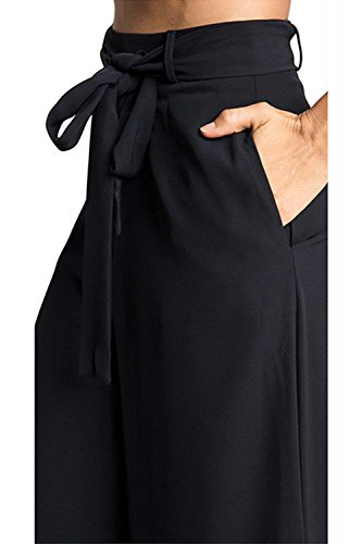 Larghi Pantalone Femminile Monocromo Cintura Inclusa Costume Pantalone Pantaloni Palazzo Estivi Donna Tempo Nero Elegante Leggero Baggy Waist High Huixin Culotte Libero axq1WCAqw