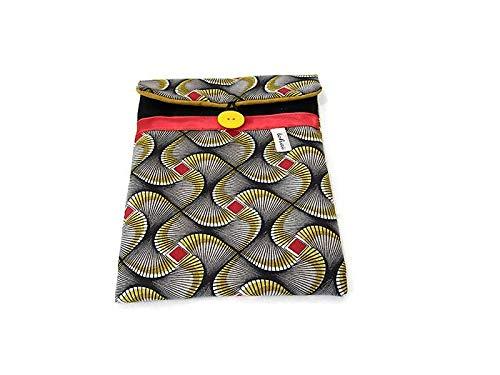 housse pour ipad mini noir en tissu wax, pochette pour tablette numérique 8 poucesen toile molletonnée, cadeau femme