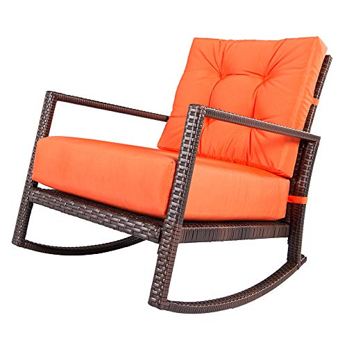Cheap Suncrown Outdoor Furniture Vibrant Orange Patio Rocking Chair   All-Weather Wicker Seat with Thick, Washable Cushions   Backyard, Pool, Porch   Smooth Gliding Rocker with Improved Stability