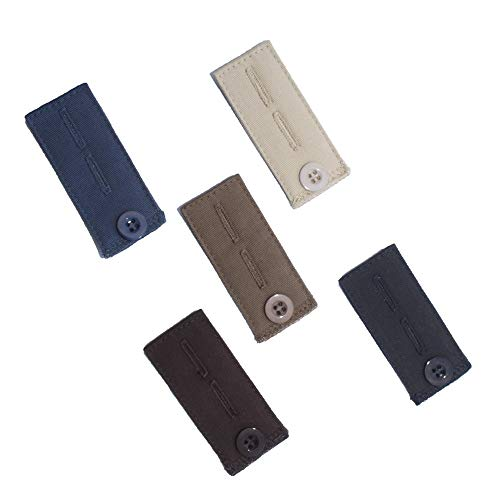 - 5-Pack Waistband Button Extender for Pants and Skirts - black, brown, taupe grey, blue, khaki - Adjustable