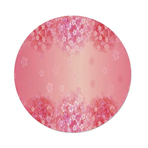 Polyester Round Tablecloth,Light Pink,Plum Blossom Botany Beauty Natural Spring Elegance Flowers Background Print,Coral Ruby,Dining Room Kitchen Picnic Table Cloth Cover,for Outdoor Indoor ()