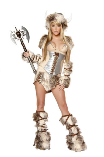 [J. Valentine Women's Viking Costume Hat with Horns Tie-Back Top Lace-Up Waist-Cincher Lace-Up Skirt Tie-Up Legwarmers and Fingerless Gloves, Tan/Brown,] (Viking Outfits For Adults)